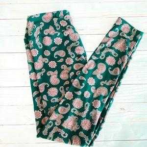 🛍 3/$20 Lularoe o/s teal pink paisley leggings